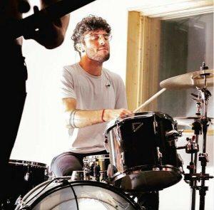 North London drum tutor Luca Romano in the studio